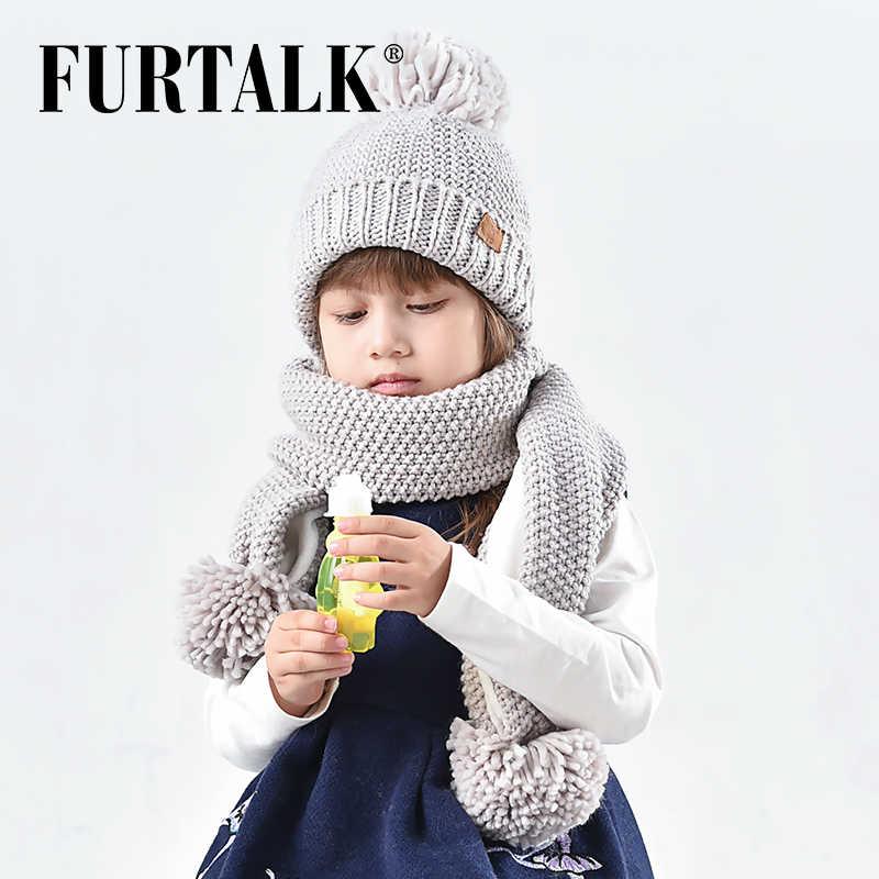bc4acb52a FURTALK Winter Pompom Hat Scarf Set for Kids Knit Beanie Boy Baby Hats Girl  Scarf CH002