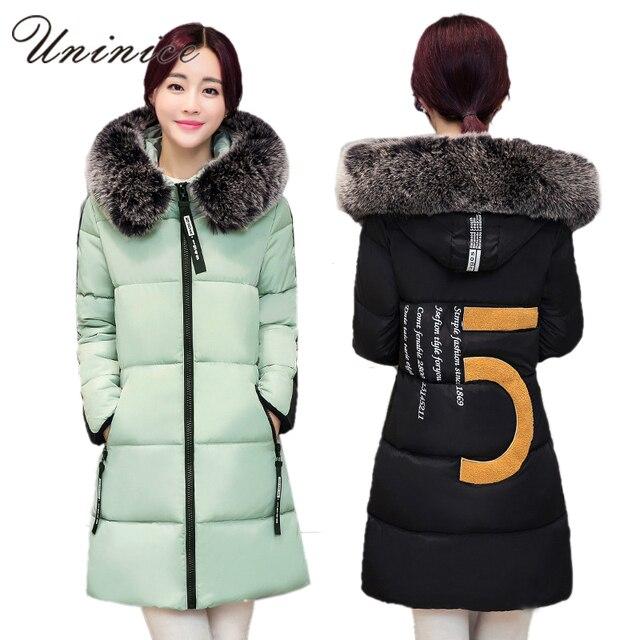 2016 Estilo Coreano Mulheres Com Capuz Para Baixo Parkas Gola de Pele Casaco Parka Para Baixo Mulheres Jaqueta Casaco de inverno Engrosse Longo Das Mulheres Para Baixo jaquetas
