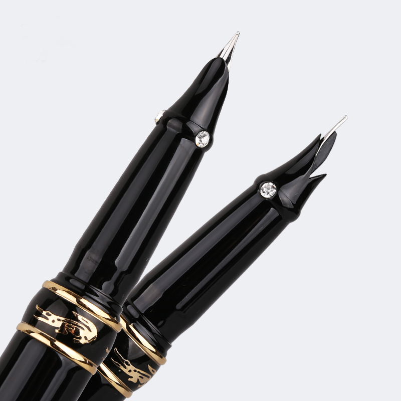 Crocodile 215 High Quality 0.38mm Extra Fine Nib Finance Fountain Pen with Diamond Metal Ink Pen for Gift Office Stationery italic nib art fountain pen arabic calligraphy black pen line width 1 1mm to 3 0mm