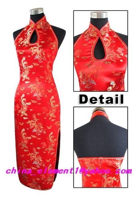 Sexy Fashion Red Bridal Wedding Party Dress Long Qipao Cheongsam Charming Dripping Backless Dress Size S To XXXL WC066