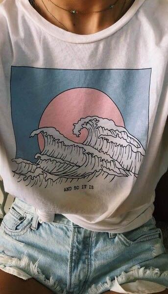 Et il est donc océan vague esthétique T-Shirt femmes Tumblr 90s mode blanc Tee mignon été hauts décontracté O cou Cool t-shirts