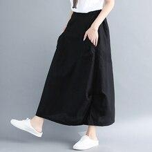 a750365b325683 Plus Größe Hohe Taille Frauen Lange Rock Vintage Baumwolle Und Leinen Röcke  Frauen Lose Künstlerische Plus Größe Rock Lang Schwa.