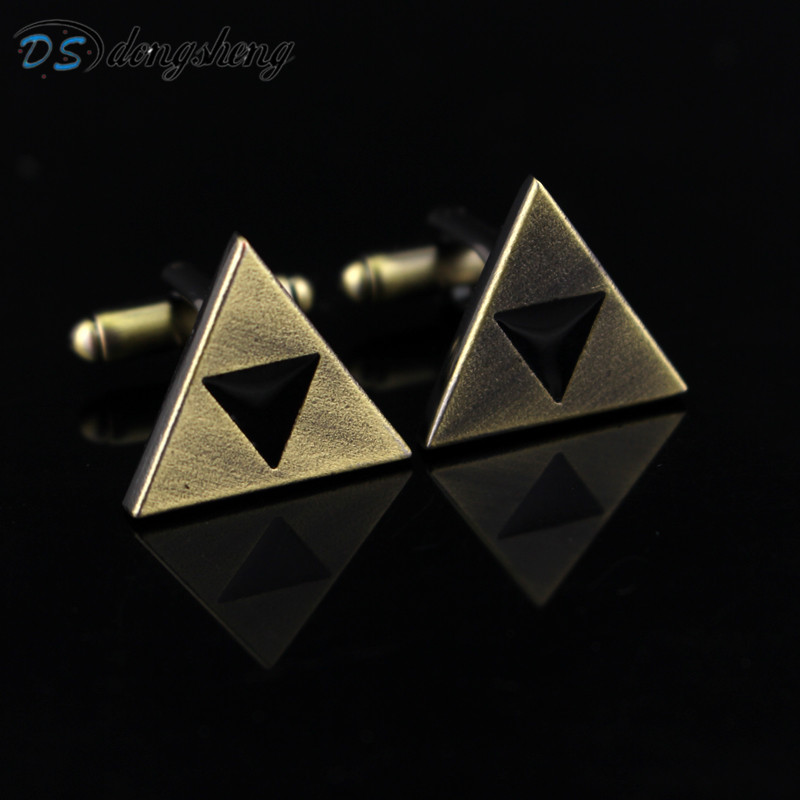 dongsheng Game Anime The Legend of Zelda the Triforce Metal Tie Clips Cufflinks For Men Shirt Unique Cufflinks Figure Jewelry-40 брелок с подсветкой the legend of zelda triforce