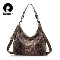 REALER Brand Women Handbag Genuine Leather Tote Bag Female Classic Serpentine Prints Shoulder Bags Ladies Handbags