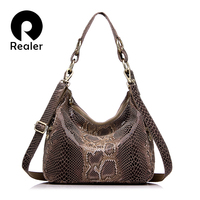 REALER Brand Women Handbag Genuine Leather Tote Bag Female Classic Serpentine Prints Shoulder Bags Ladies Handbags
