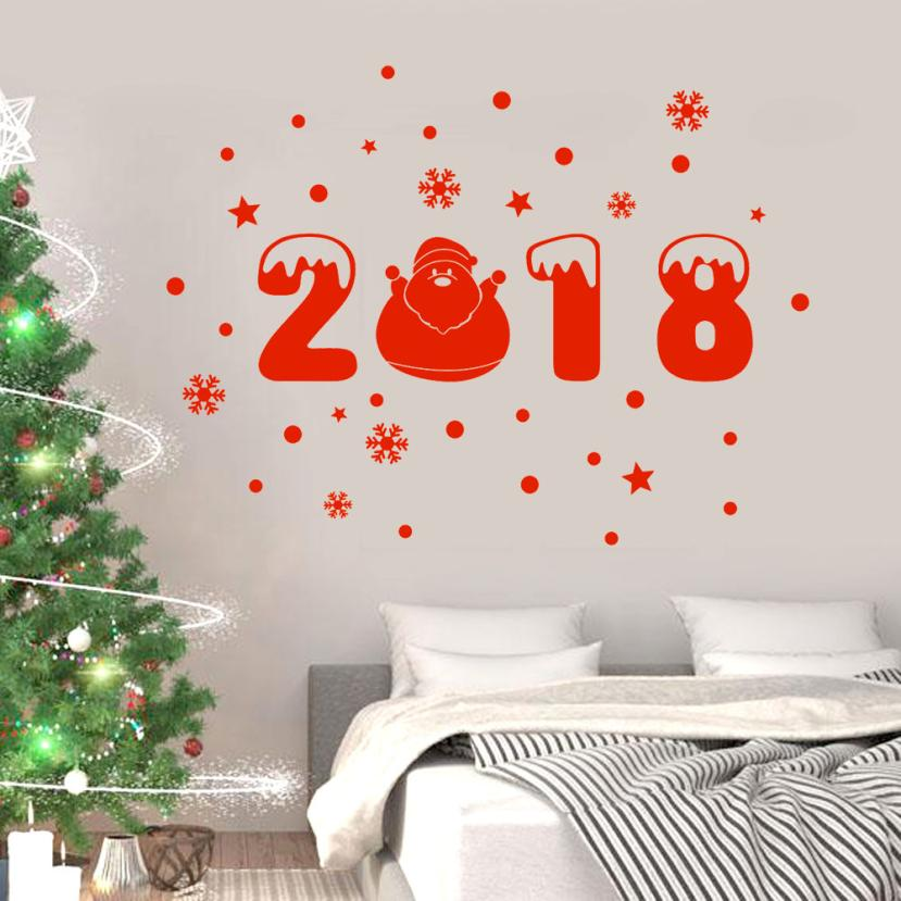 Happy New Year 2018 Merry Christmas Tree Wall Sticker Home Shop Windows Decals Decor 2O1018