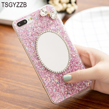Luxury Mirror Phone Case For iPhone 6 6S Cover Cute Silicon Bling Glitter Crystal Sequins Soft TPU Fundas 7 8 Plus X