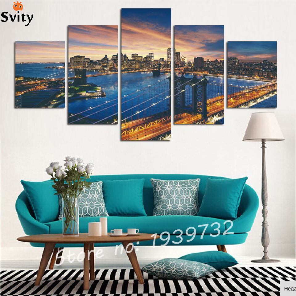 5 panels(No Frame)The City Landscape Home Decor Picture Art HD Print Canvas Wall for living room Painting New Arrivals