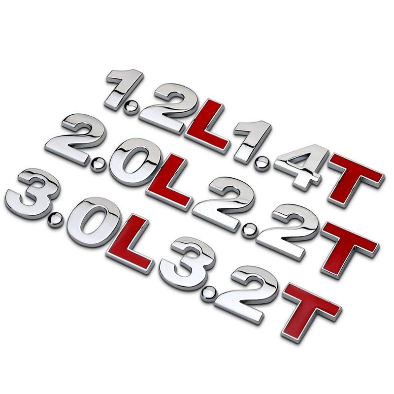20 наборов, 1,8 Т, 2,0 т, 3,0 т, 2,0л, 2,4л, 3,0л, 3,2 т, 3,6л, литры двигателя автомобиля, хромированный металлический Стайлинг, 3d-стикер, украшение для автомобиля