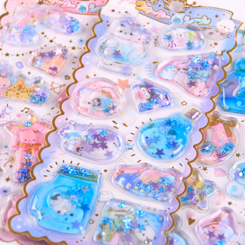 Amengguo 1pcs Kawaii Stationery Stickers Crystal Oil Filling Diary Planner