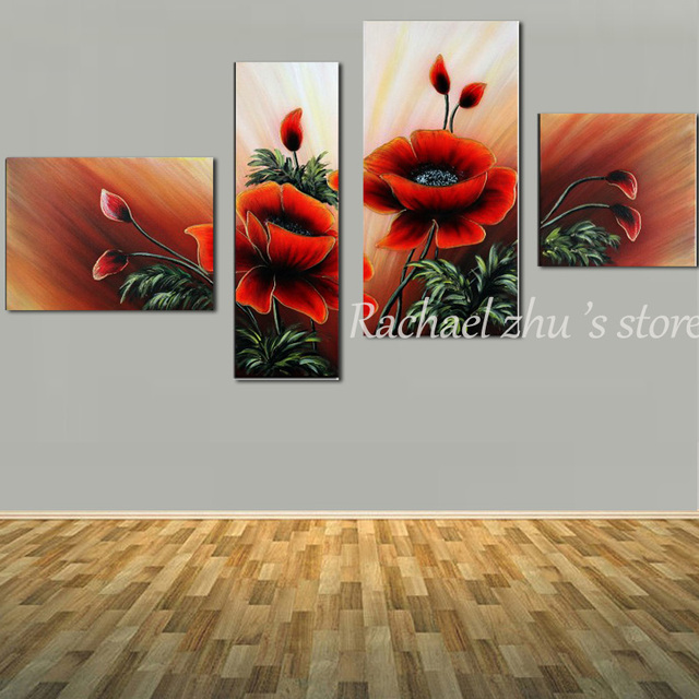 Hand painted abstract 4 panles red poppy flower oil painting on hand painted abstract 4 panles red poppy flower oil painting on canvas abstract red poppy wall mightylinksfo