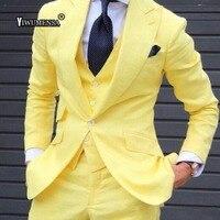 yiwumensa 2018 Mens Suits With Pants Yellowe wedding suits for men trajes de hombre 3 pieces mens suits Slim Fit groom suit 2017