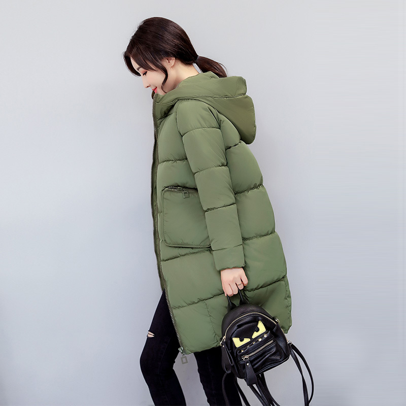 все цены на Plus Size Long Women Jackets 2017 Winter Warm Wadded Coat Solid Black Gray Female Hooded Parkas Large Hood Women Outwear YP0479