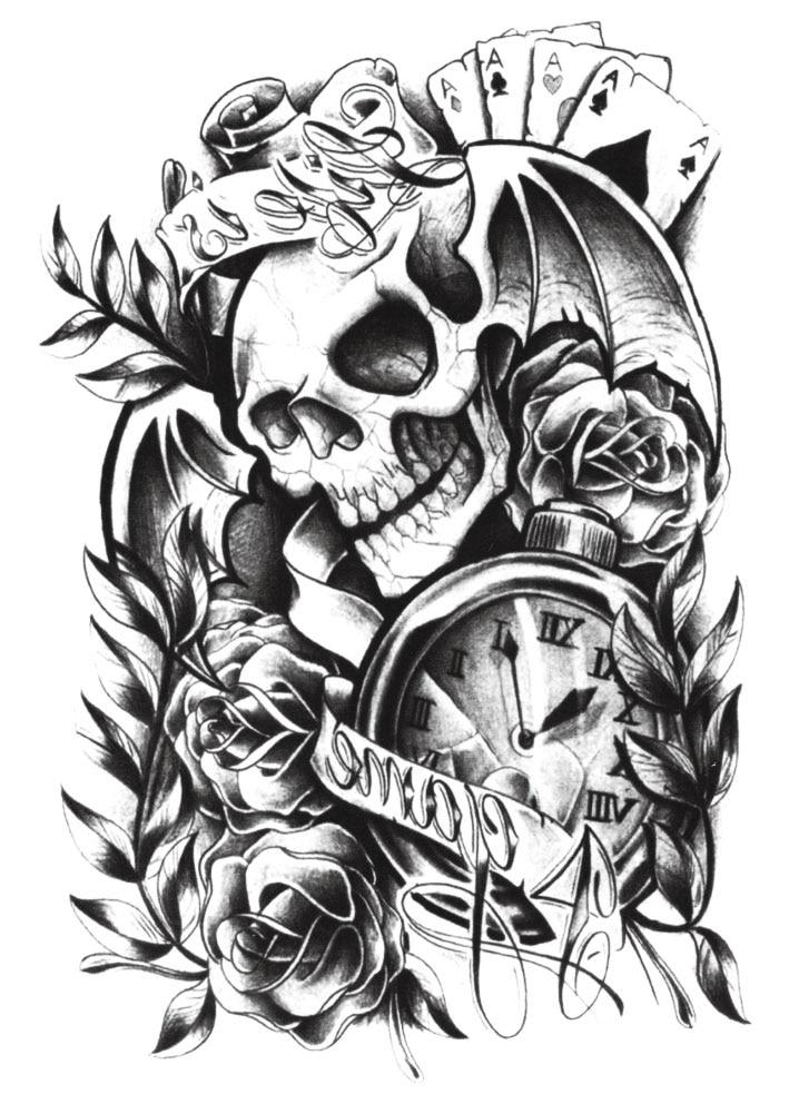 Yeeech Temporary Tattoos Sticker for Men Women Unisex Skull Rose Poker Clock Designs Large Fake Arm Leg Back Body Art Waterproof