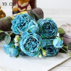 Image 4 - YO CHO de rosas artificiales de peonía, ramo de flores de seda para decoración de boda, peonías blancas, rosas rojas, falsas