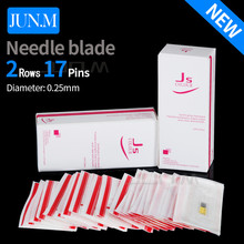 50Pcs 17 Pin Permanent Makeup Double Tattoo Needles Blade 50pcs/Lot Yellow Eyebrow Manual Munsu Beauty Makeup Free Shipping