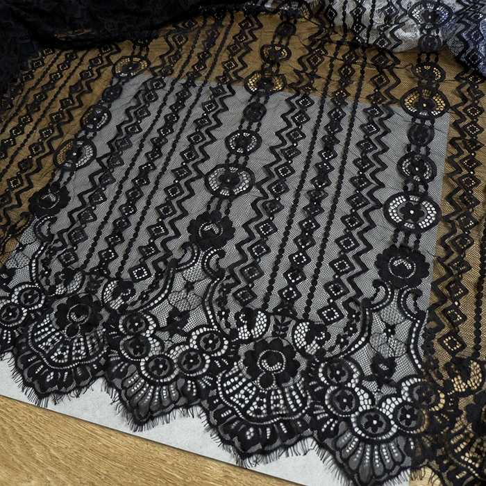 Latest top quality eyelash french lace tissue fabric! Off white, Black 1 Piece=3 Meters long women gowns dresses making lace!