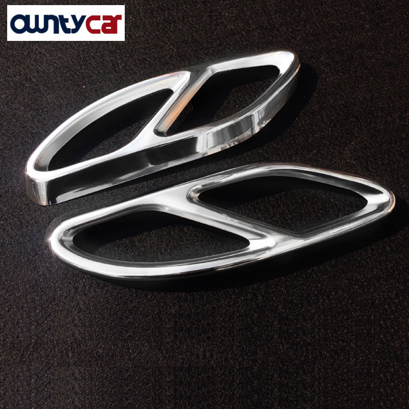 2016 2017 For Mercedes Benz CLA Class W117 C117 CLA200 CLA260 AMG Car Styling Steel Exhaust Pipe Frame Cover Trim Parts for benz cla c117 w117 inner door window switch button cover 2014 2017 14pcs