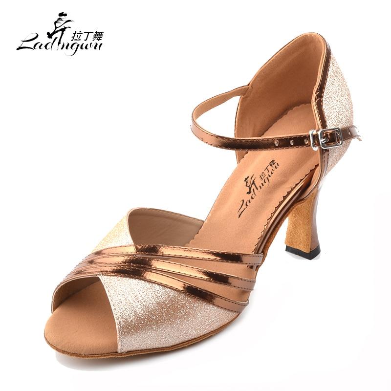 Ladingwu Flash Cloth and Golden PU Dance Shoes Latin Women Tango Waltz Salsa Dance Shoes Heel 5cm/6cm/7.5cm/8.3cm ladies latin dance shoes closed toe middle heel ladies ballroom dancing shoe waltz viennese waltz tango foxtrot shoes 5 5cm heel