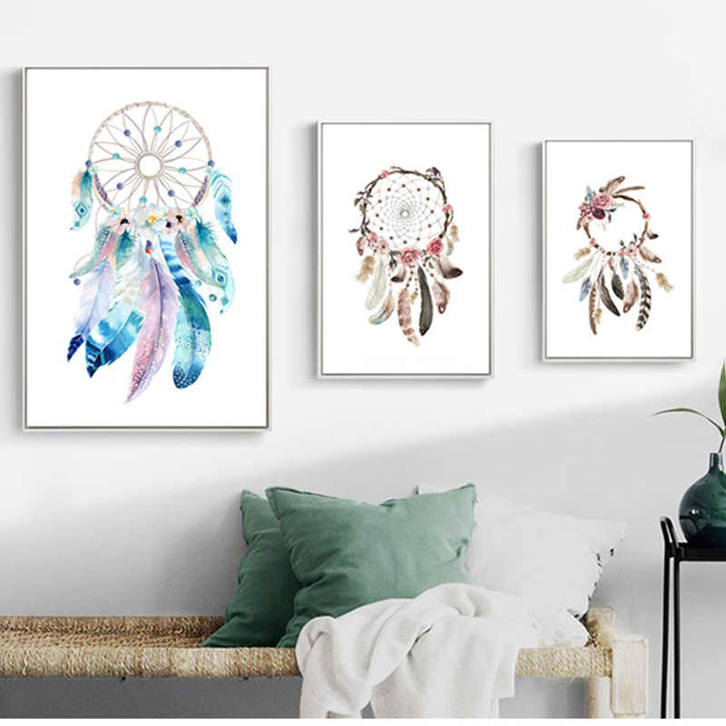 3 Color Nordic Simple Painted Dream Catcher Feather Poster Hd Printed On Canvas Living Room Wall Art Picture Home Decor Painting Painting Calligraphy Aliexpress