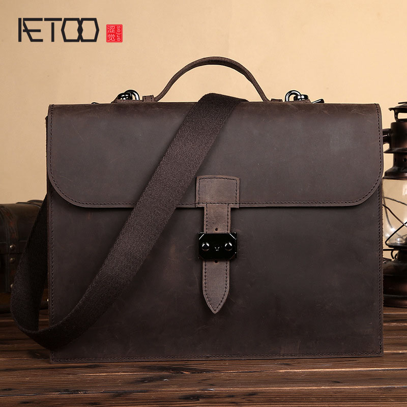 AETOO New genuine leather cowhide men bag cross section men 's handbag computer bag business vintage briefcase delin men bag business package men s handbag shoulder bag cowhide briefcase cross section first layer leather bag men s section