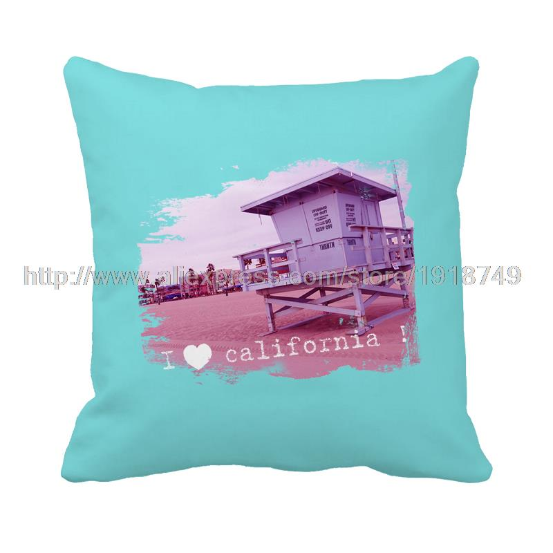 I Love California With Log Cabin Printed Blue Square Cushion Cover Home  Decor Decorative Pillow Case For Sofa And Home