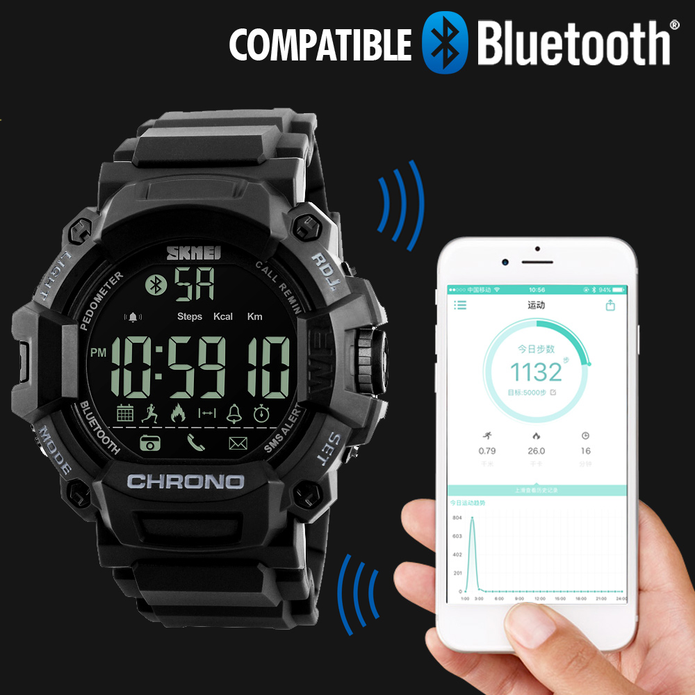 SKMEI Men Smart Watch Chronograph Calories Pedometer Multi-Functions Sports Watches Reminder Digital Wristwatches Relogios 1249 square digital watch skmei