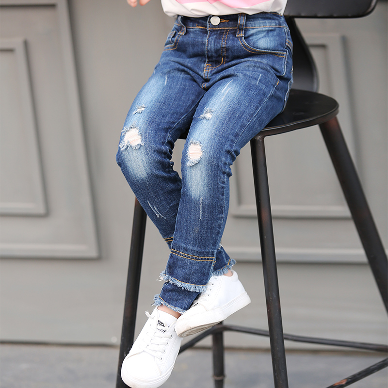 2017 Fashion Girls Children Pants Baby Girl Jeans Kids Lovely Pants Casual Trousers Denim Pants For 5 8 10 12 14 16 Years Teens new 2017 spring long length baby girls jeans pants fashion kids loose ripped jeans pants for children hole denim trousers