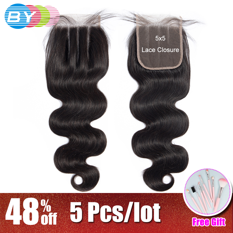 BY 5x5 Lace Cosure Body Wave Human Hair Natural Color Brazilian Remy Hair Closure Bleached Knots