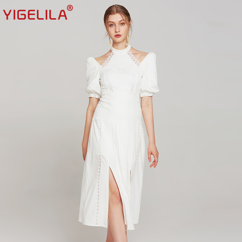 YIGELILA Fashion Women White Halter Party Dress Summer Lantern Sleeve Hollow Out Empire Slim Mid Length Solid Split Dress 63882