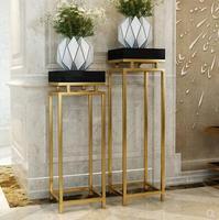 Классическая позолоченная стойка из нержавеющей стали. Современная гостиная украшена завод цветок стоят ..