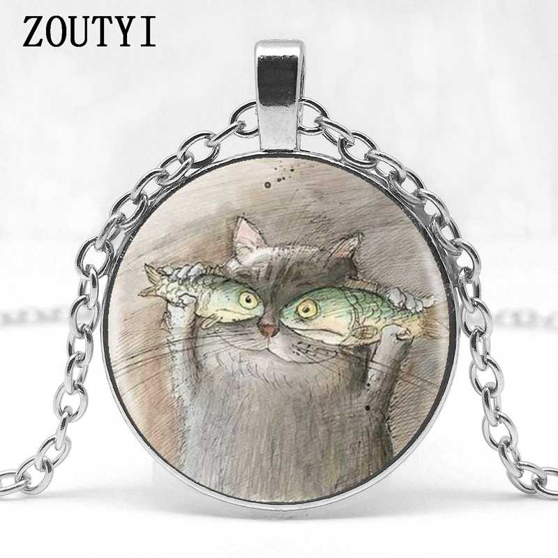 2018/ hot sale, cute cat fish one portrait, cute vivid glass pendant necklace jewelry.