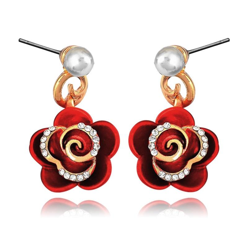 new Imitation pearls pearl Stud earrings Matte flower jewelry fashion woman fine accessories E00953