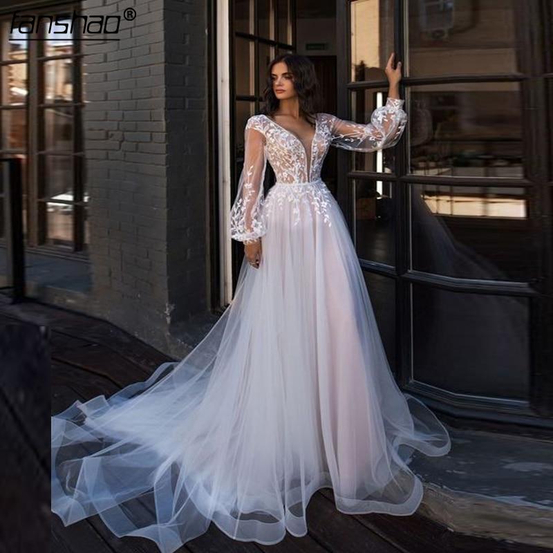2019 Muslim Wedding Dresses V-Neck Tulle Applique Lantern Sleeves Illusion Vestido De Noiva Boho Dubai Arabic Bridal Dress