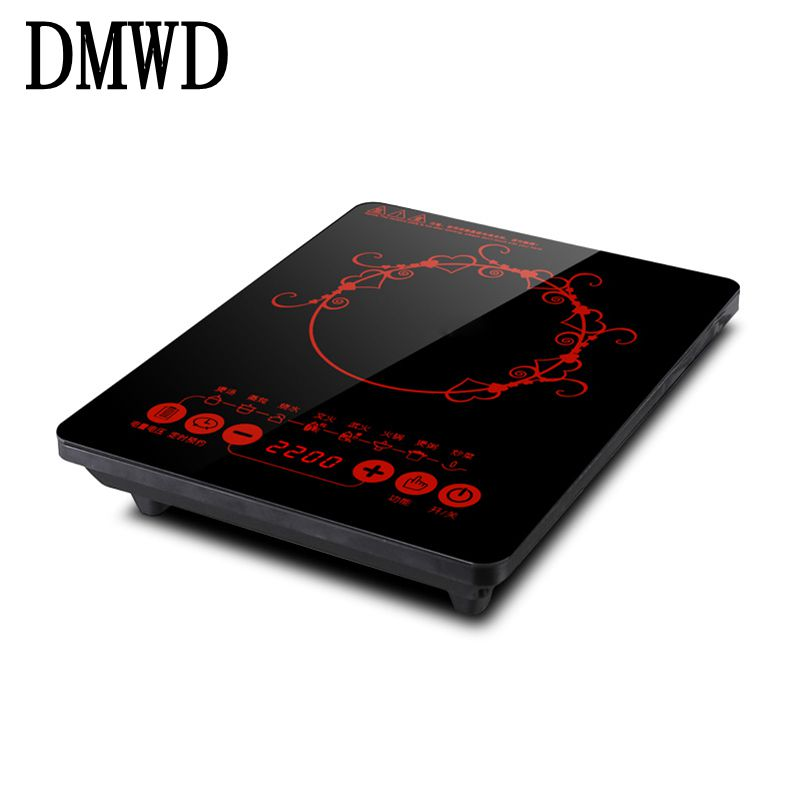 DMWD Household Electric Induction Cooker 2200W Waterproof Black Crystal panel hotpot cooktop stove electromagnetic hot pot oven dmwd electric induction cooker waterproof high power button magnetic induction cooker intelligent hot pot stove 110v 220v eu us