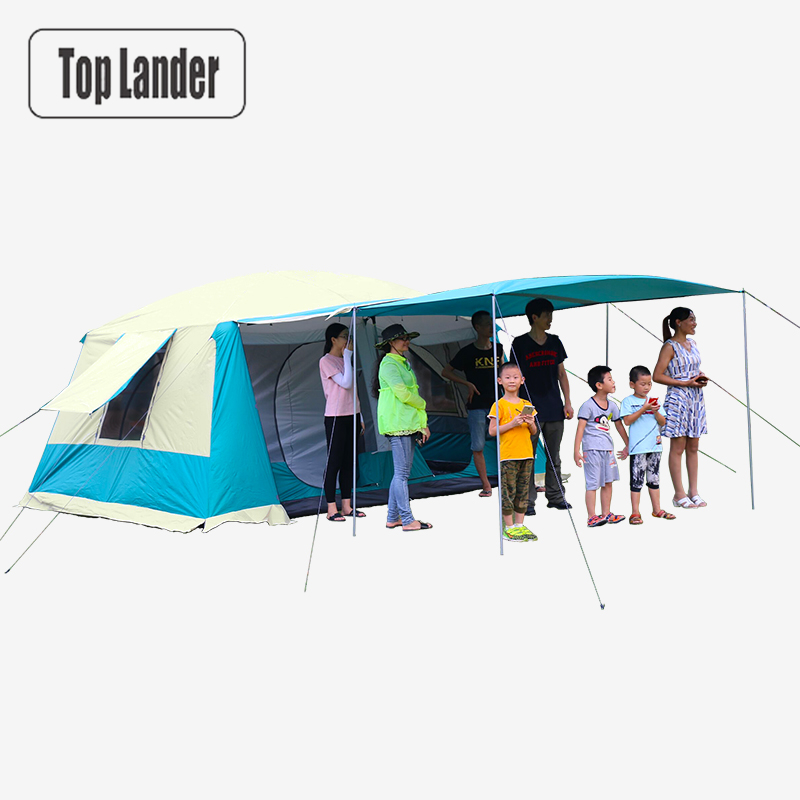Large Camping Tents Family  8-12 Person 2 Bedrooms Full Cover Double Layer Super Waterproof Outdoor Party Beach Big Cabin Tent outdoor 8 12 person tunnel big beach tent single layer portable large waterproof awning camping tente family free shipping zp98
