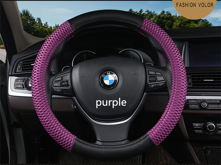 leather Car Steering Wheel Cover Sandwich Fabric Handmade Durable Skidproof Auto Covers Fit For Most Cars Breathability