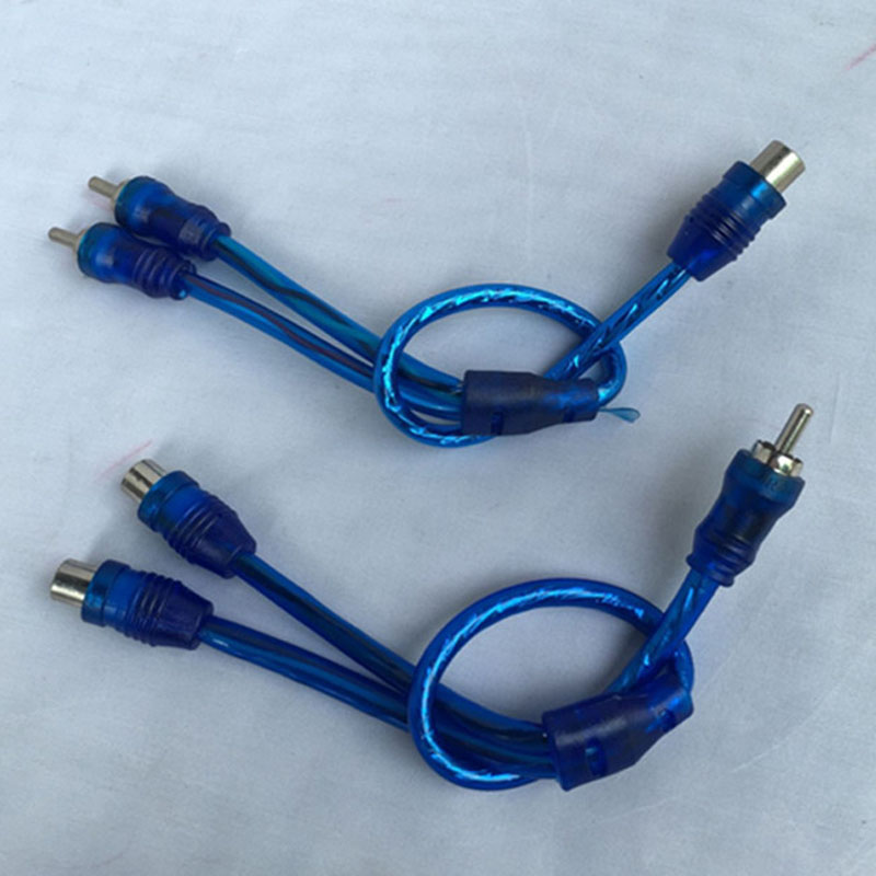 Blue 200mm PVC Car audio amplifier Wiring Kit RCA Female To Male ...