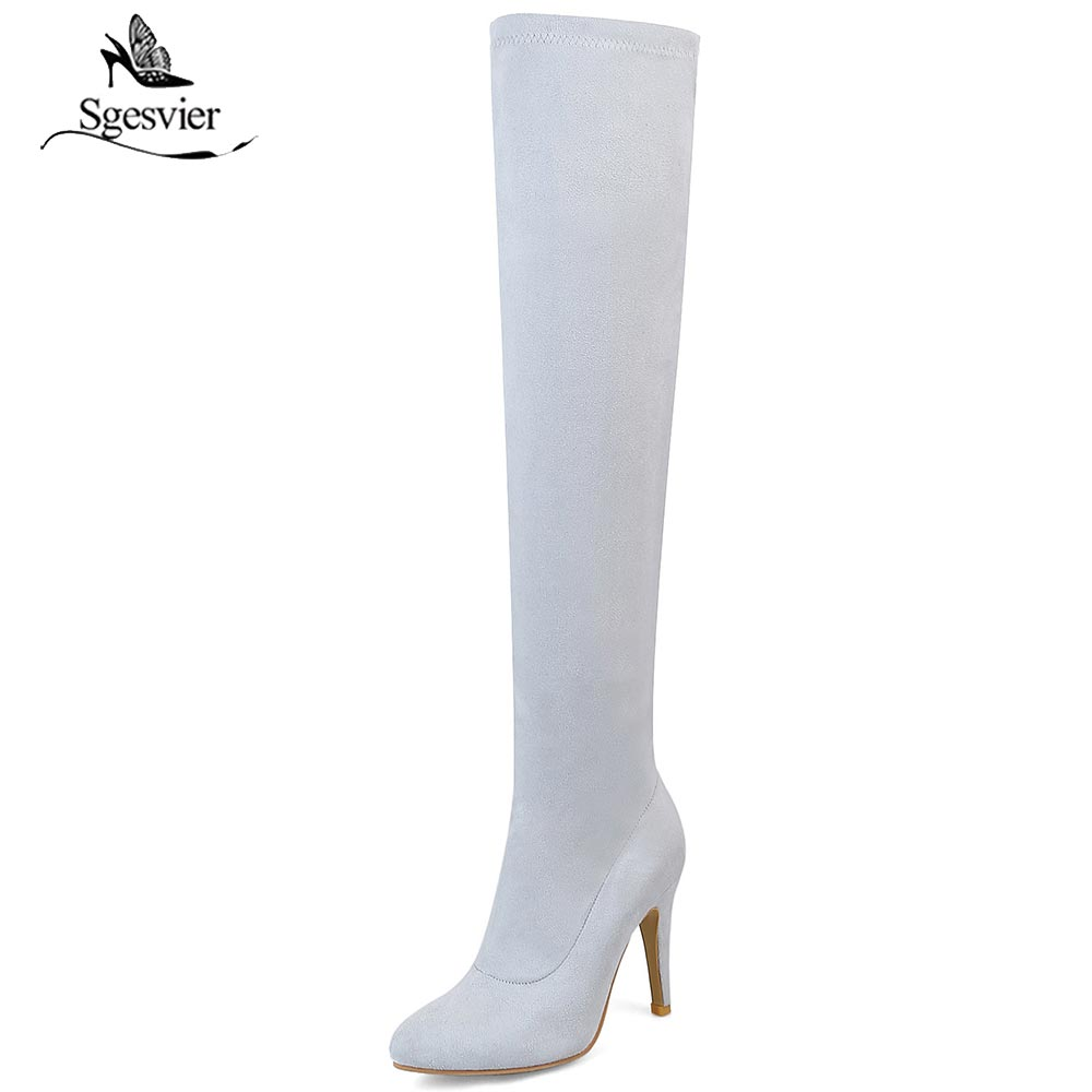 Sgesvier High heel over the knee boots women Pointed Toe Spring boots thigh high boots shoes woman botas mujer bottine OX715 hongyi women boots stretch over knee spring autumn boot thigh high boots shoes woman big size pointed toe high heels botas mujer