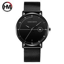 Мужские модные ультратонкие кварцевые часы hannah martin водонепроницаемые