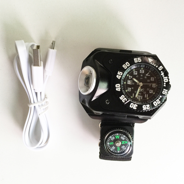 800lm 5 modes tactische kompas flash licht oplaadbare led horloge zaklamp wristlight waterdichte verlichting outdoor