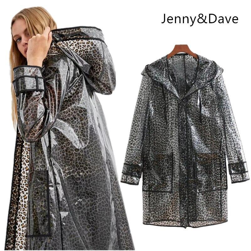 Jenny&Dave 2018 jacket casaco feminino england style waterproof leopard transparent jackets women bomber jacket plus size 1106