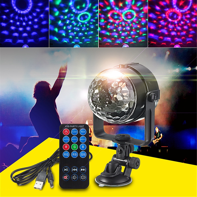 Mini RGB LED Stage Light 3W Remote Controls Light Disco Ball Lights ...