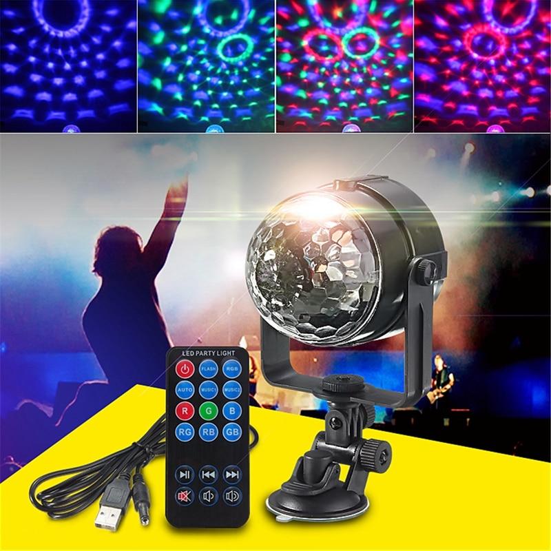 Mini RGB LED Stage Light 3W Remote Controls Light Disco Ball Lights LED Party Lamp Show Stage Lighting Effect USB Powered DV 5V mini rgb led party disco club dj light crystal magic ball effect stage lighting