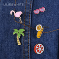 Metal Glass Cup Orange Coconut Tree Flamingo Brooch Pins Brooches for  Women Jewelry Summer Style Enamel Badge For Girl