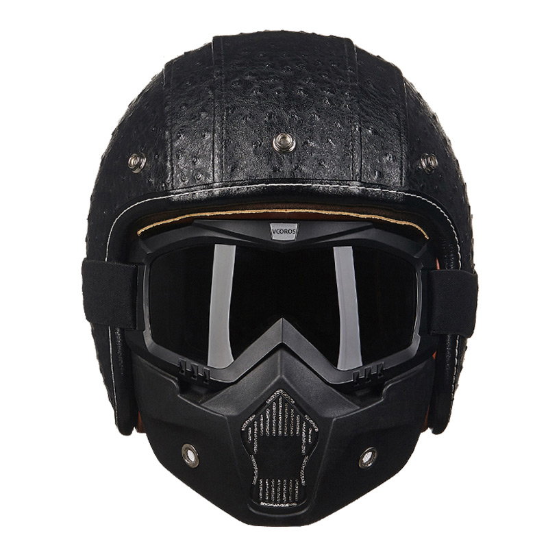 Leather Covered Motorcycle Helmet 3/4 Open Face Vintage Retro Moto Helmet Can Add Face Shield For Motorcycle Helmets