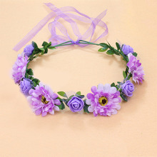 18cm Silk Flower Wreath Headband Floral Garland Wedding Crown Artificial Flower Headdress Beach travel Headband M15 flower overlay headband