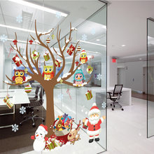 DIY Glass Window Stickers Santa Owls Tree Christmas White Snowflakes Pendant Wall Window Glass Sticker Christmas Decoration(China)