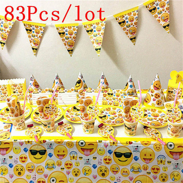 83pcs Lot Happy Birthday Party Supplies Emoji Theme Boy And Girl Love Cartoon Pattern Disposable Tableware Ten