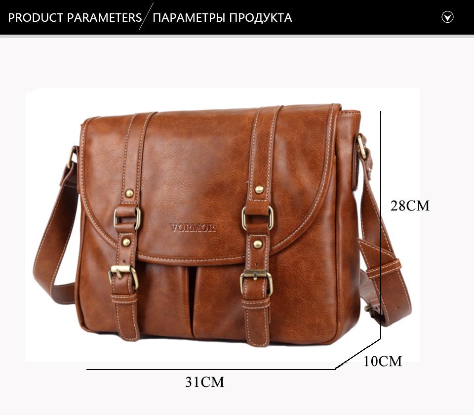 1fa7def3a99e VORMOR Brand Leather Men Bag Casual Business Leather Mens Messenger Bag  Fashion Men s Crossbody Bag bolsas male